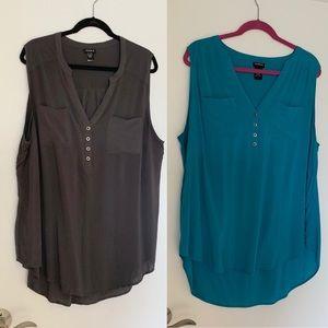 Two VGUC sleeveless blouses